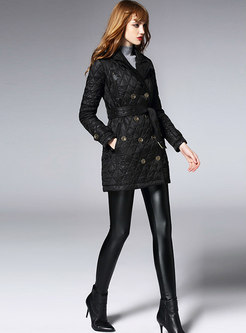 Stylish Black Turn Down Collar Belted Slim Thick Coat