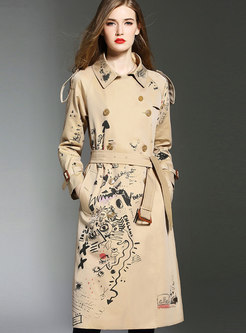 Chic Print Turn Down Collar Belted A Line Trench Coat
