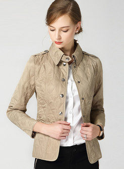 Pure Color Lapel Single-breasted Short Coat
