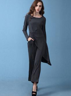Trendy Long Sleeve Drawstring Sweater & Wide Leg Pants