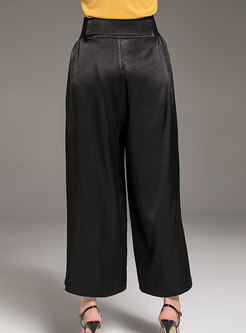 Casual Black Embroidered High Waist Straight Wide Leg Pants