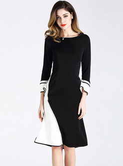 Elegant Color-blocked Flare Sleeve Slim Mermaid Dress