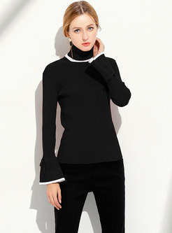 Color-blocked High Neck Flare Sleeve Slim Knitted Sweater
