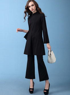 Casual Standing Collar Slit Top & Wide Leg Pants