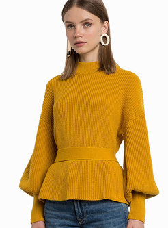 Autumn Brief Solid Color Cut-back Belted Sweater