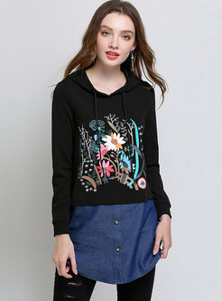 Stylish Autumn Hooded Denim Stitching Print Hoodies