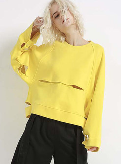 Yellow Long Sleeve Pullover Loose Sweatshirt