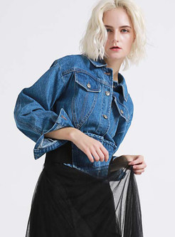Color-blocked Lapel Short Denim Coat