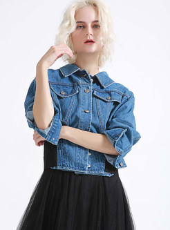 Color-blocked Lapel Single-breasted Shors Denim Coat