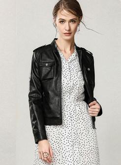 Standing Collar PU Zippered Slim Short Coat