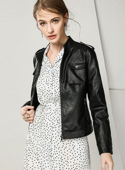 Standing Collar PU Zippered Slim Short Coat