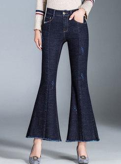 Stylish Denim High Waist Elastic Slim Flare Pants