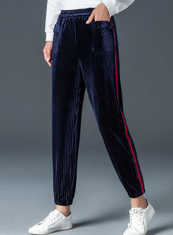 Casual Striped Splicing Elastic Waist Slim Pencil Pants