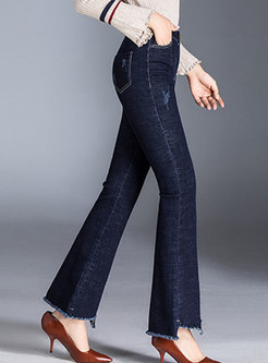 Chic Frayed Asymmetric Rough Selvedge Flare Pants