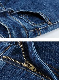 Blue Denim High Waist Elastic Flare Pants