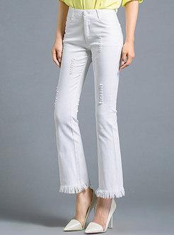 White Frayed Tassel Patch Slim Flare Pants