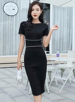 Color-blocked Splicing Gathered Waist Zipper Sheath Dress