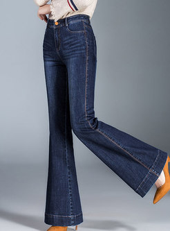 Stylish Denim High Waist Slim Flare Pants