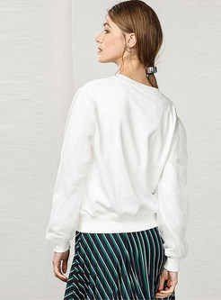 Casual White O-neck Mesh Long Sleeve Sweatshirt