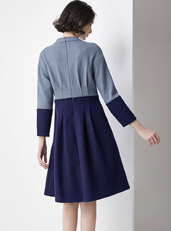 Brief Stand Collar Contrast-color Stitching Skater Dress