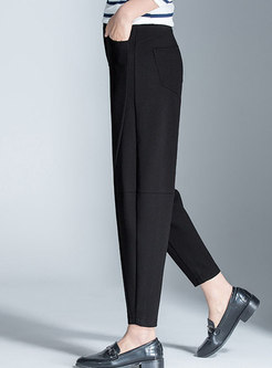 Stylish Pure Color Splicing Slim Harem Pants