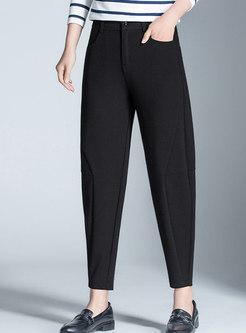 Stylish Pure Color Splicing Slim Harem Pants