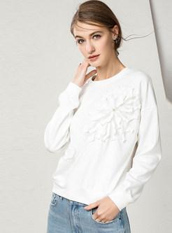 Brief Casual O-neck Loose Long Sleeve Sweatshirt