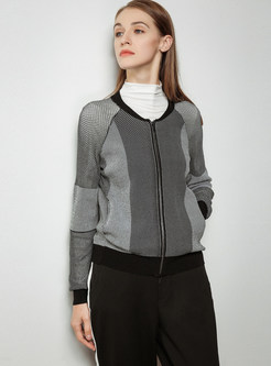 Color-blocked Zippered Zip-up Short Knitted Coat