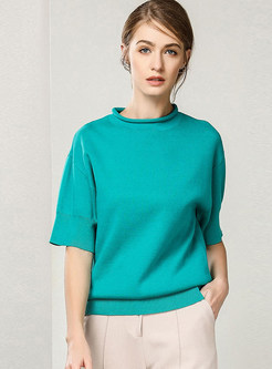 Stand Collar Cotton Loose Pullover Sweater