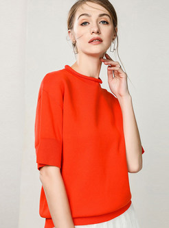 Solid Color Half Sleeve Cotton Loose Sweater
