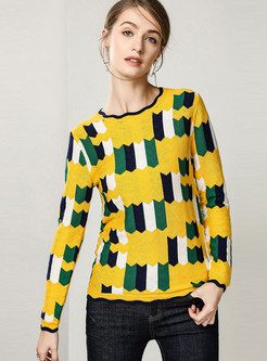 O-neck Long Sleeve Color-blocked Slim Sweater
