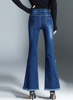 Elegant Denim Rough Selvedge Asymmetric Flare Pants