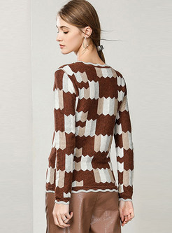 Brief Cotton Color-blocked Geometric Print Sweater