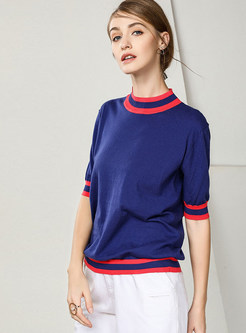 Color-blocked Standing Collar Loose Pullover Sweater