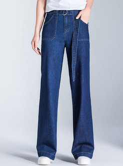 Stylish Denim High Waist Belted Wide Leg Pants