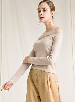 Sexy Slash Neck Hollow Out Solid Color Slim Sweater