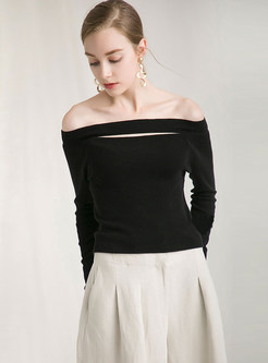 Pure Color Slash Neck Long Sleeve Pullover Sweater