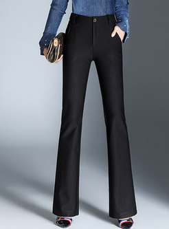 Elegant Solid Color High Waist Flare Pants