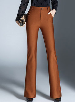 Solid Color High Waist Slim Flare Pants