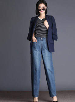 Stylish Denim High Waist Wide Leg Pants