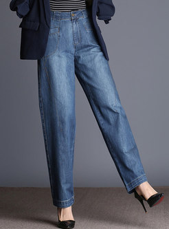 Stylish Denim High Waisted Wide Leg Pants