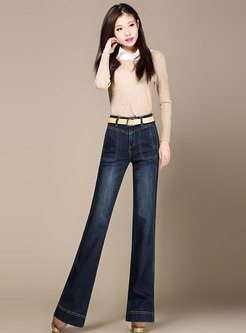 Denim High Waist Elastic Flare Pants
