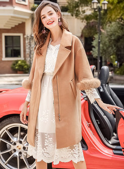 Elegant Solid Color Lapel Hairy Thicken Coat With Fox-fur