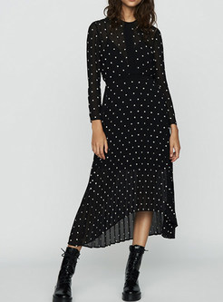 Black O-neck Perspective Waist Slim Irregular Hem Dress