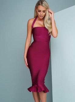 Sexy Solid Color Handbag Neck Slim Mermaid Dress