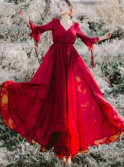 Deep V-neck Flare Sleeve Waist Big Hem Maxi Dress