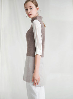 Fashion High Neck Color-blocked Slim Knitted Vest