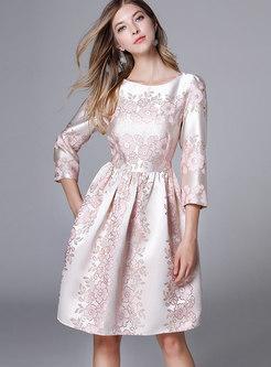 Elegant Trendy Jacquard Gathered Waist Skater Dress