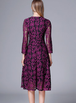 Sexy Purple V-neck Lace-paneled Hollow Out Dress