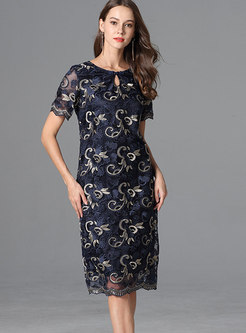 Autumn Elegant Crew-neck Keyhole Oversized Perspective Dress